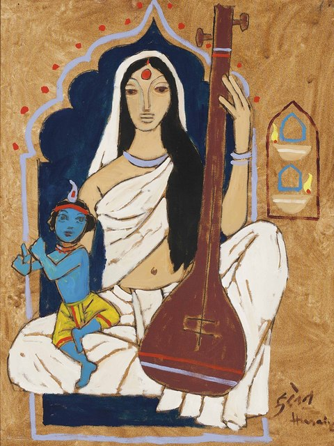 M. F. Husain, 'Untitled (Mirabai with Krishna)', Painting, Oil on canvas, Christie's South Asian + Chinese