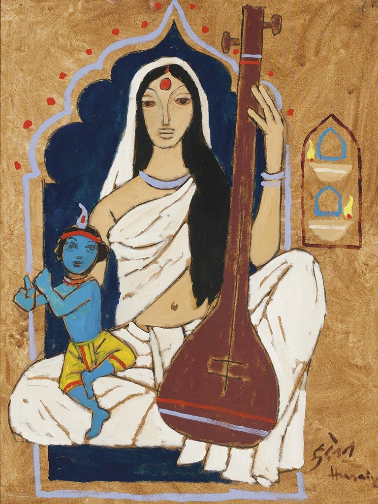 Maqbool Fida Husain, 'Untitled (Mirabai with Krishna),' , Christie's South Asian + Chinese