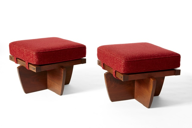 ", 'Pair ""Greenrock"" Ottomans,' 1983, 1950"