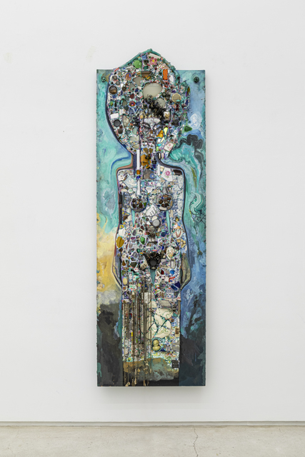 Timothy Washington, 'Energy Source, 2nd Warning', ca. 2000, Sculpture, Mixed media including wood, glass, ceramic fragments, paint, chains, toys, light, cord, dice, and shells, Salon 94