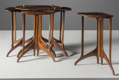 A set of five nesting tables
