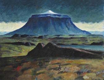 "Landscape with the volcano ""Herðubreið"", Iceland"