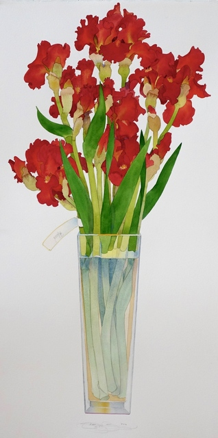, 'Red Iris in a tall vase,' 2017, Ansorena Galeria de Arte