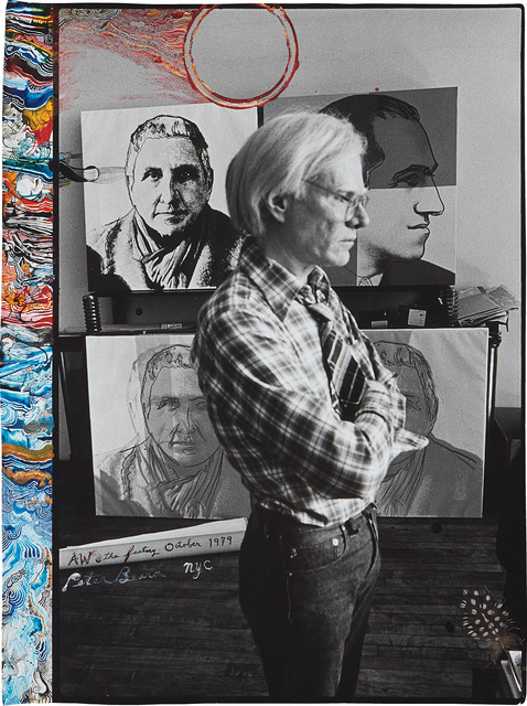 Peter Beard, 'Andy Warhol at the Factory from Living Sculpture, October', 1979, Photography, Gelatin silver print with ink, paint and affixed feather, executed later., Phillips