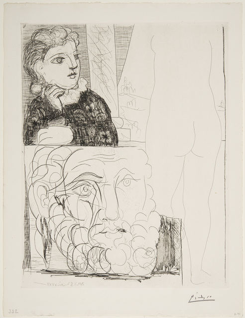 Pablo Picasso, 'Woman Leaning on her Elbow, Sculpture Viewed from the Rear and Bearded Head', May 4-1933, Print, Etching, Museum of Fine Arts, Boston