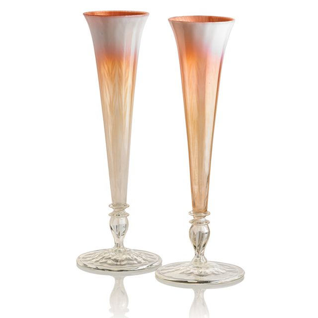 Tiffany Studios, 'Two Tall Pastel Favrile Glass Vases, New York', Early 20th C., Rago/Wright