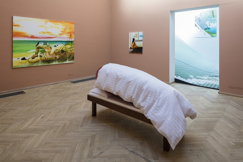 """John Kørner, """"A review of normative and problematic sleep 4"""", 2017 et al. Installation view from 'Altid mange problemer', Kunsthal Charlottenborg, 2017. Photo by Anders Sune Berg."""