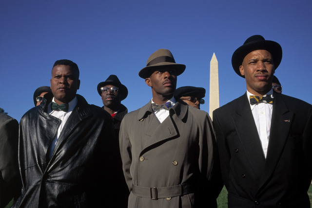 ", '""Million Man March."" Members of the Nation of Islam on the mall. Washington DC, USA.,' 1995, Magnum Photos"