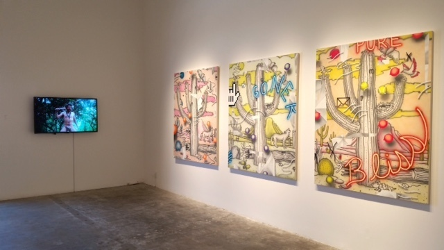 Zackary Drucker and Juan Pablo Echeverri videos (left), Josh Reames paintings, installation view Ha Ha! Business!