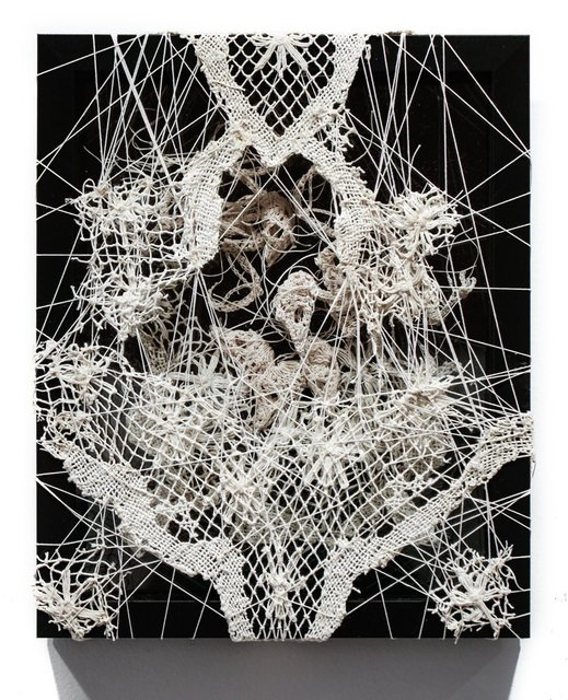 Caitlin McCormack, '366', 2017, Mixed Media, Crocheted cotton string, glue, steel pins, velvet, antique lace remnant, InLiquid