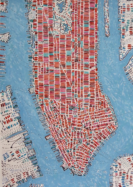 , 'Orange Pink Emerald Manhattan,' 2018, Rebecca Hossack Art Gallery