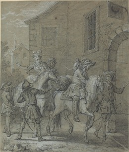 Jean-Baptiste Oudry, 'L'Arrivee de l'Operateur dans l'hotellerie', 1727, Drawing, Collage or other Work on Paper, Black chalk heightened with white chalk on blue laid paper, National Gallery of Art, Washington, D.C.