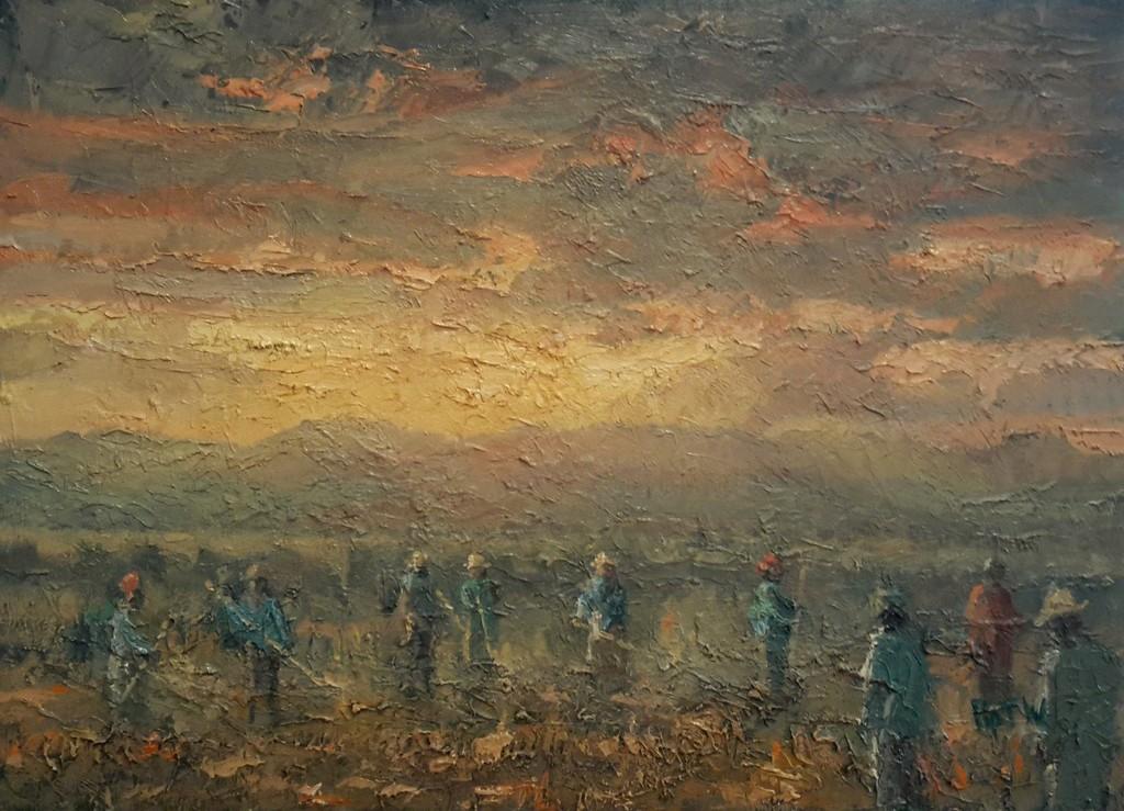 Pip Todd-Warmoth - Working in the Fields, Tibet, oil on board, 36 x 50 cm