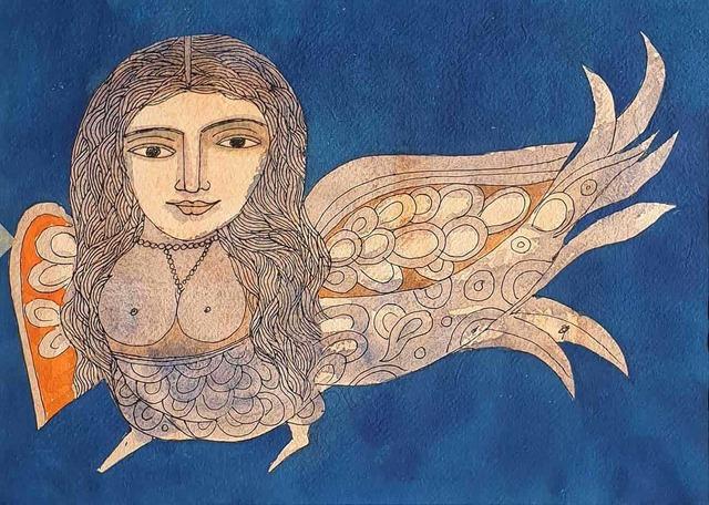 """, 'Kinnara, Watercolor on Paper, Blue, Orange by Indian Padmashree Artist """"In Stock"""",' 2006, Gallery Kolkata"""