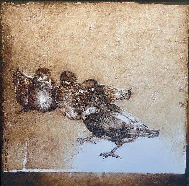 Jamil Naqsh, 'untitled - Three pigeons ', 2014-2017, Painting, Oil on canvas, Eye For Art Houston