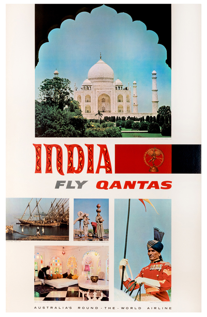 Vintage Travel Poster, 'India, Fly Qantas', 1965, Kapoor Galleries / Graham Shay 1857