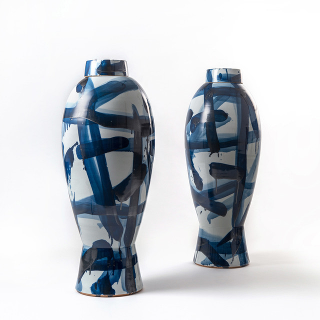 Felicity Aylieff, 'Side by Side: A Pair of Blue & White Lidded Jars', 2017, Design/Decorative Art, Thrown and glazed porcelain, hand-painted with cobalt blue oxide, Adrian Sassoon