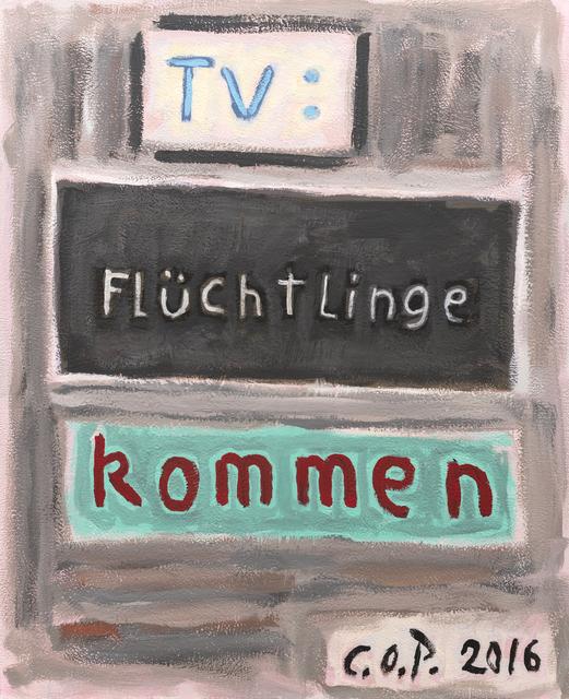 , 'o.T. (TV: Flüchtlinge kommen),' 2016, Ruttkowski;68
