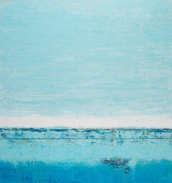 """John Schuyler, '""""Cielo #85"""" Abstract mixed media diptych in turquoise blues', 2010-2017, Eisenhauer Gallery"""