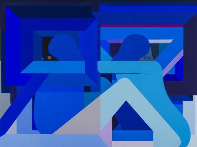 , '2 Opposing Figures (Blue),' 2018, V1 Gallery
