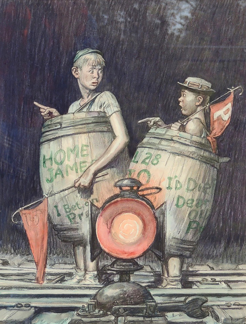 Monte Crews, 'Two Young Sports Fans in Barrels', The Illustrated Gallery