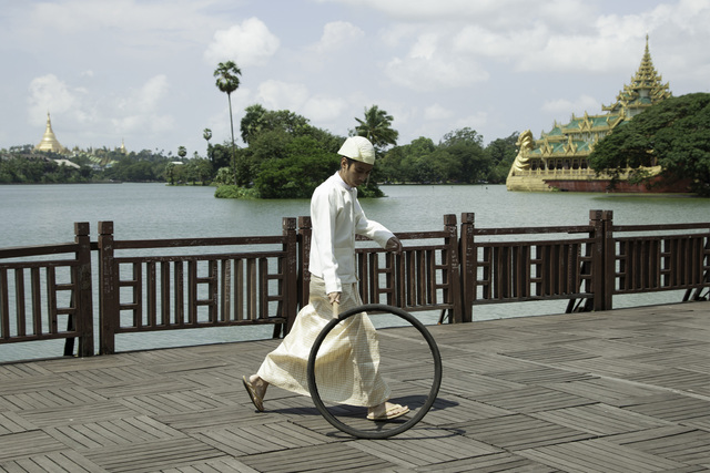 , 'Bicycle Tire Rolling Event from Yangon: Kan Daw Gyi Park,' 2013, 10 Chancery Lane Gallery