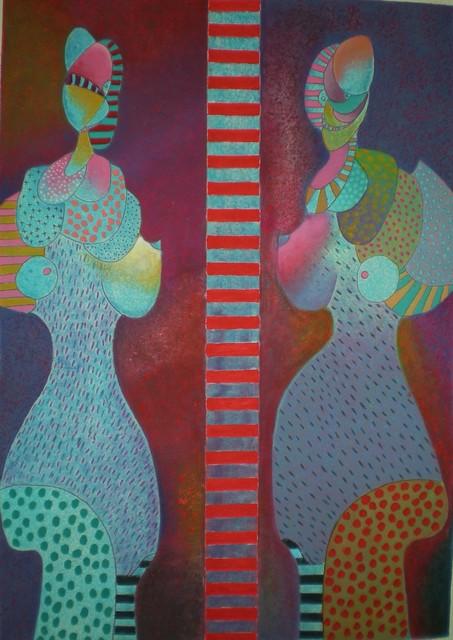 Vladimir Cora, 'Dos Figuras', ca. 1980, Print, Mixograph on heavy handmade paper, Stern Fine Art