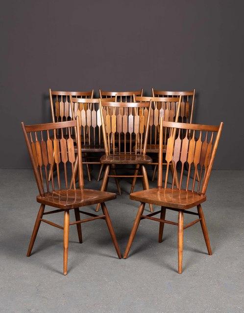 Kipp Stewart, 'Centennial, Set of two armchairs and eight chairs', vers 1950, Design/Decorative Art, Walnut, Leclere