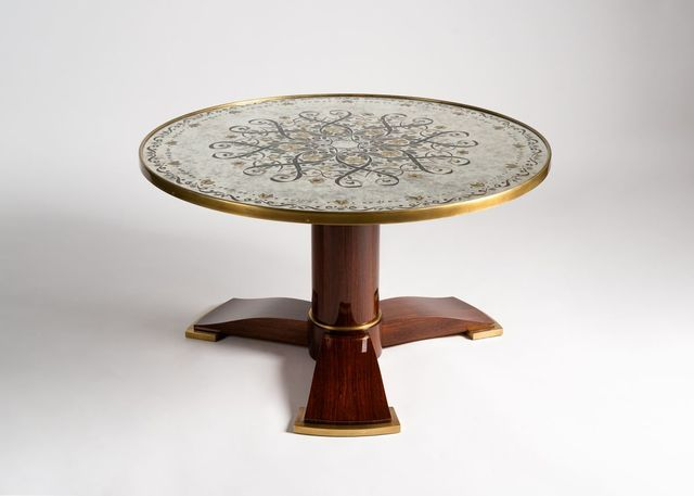 Jules Leleu, 'Coffee Table with Tripod Base', ca. 1930s, Design/Decorative Art, Blond mahogany with gilt-bronze sabots and Verre Eglomisee top, Maison Gerard