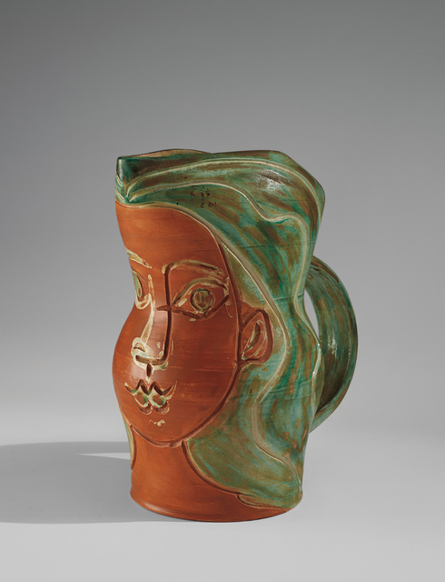 Pablo Picasso, 'Visage de femme (Woman's Face)', 1953, Design/Decorative Art, White earthenware turned pitcher, painted in colours with decoration in engobes, knife engraving and partial brushed glaze., Phillips