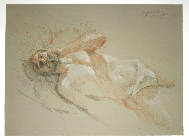 , 'Mann auf dem Bett mit Joint,' 1982, Galerie Kornfeld
