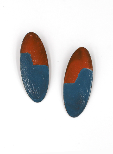 , 'Orange and Blue Oval Earrings ,' 2017, Facèré Jewelry Art Gallery