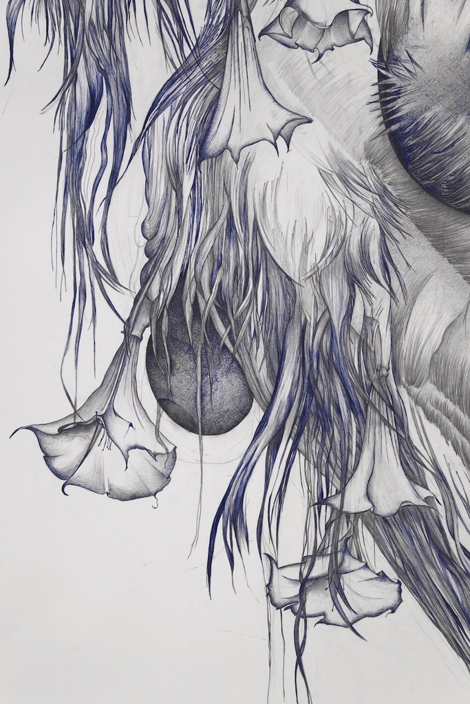 Marlene McCarty, Devil's Snare, Male Pattern Baldness, Sag, Modern Mastery, Tumor or Goiter or Mammilla, Hell's Bells (Detail), 2019, Appr. 178x228 cm. Courtesy the artist.