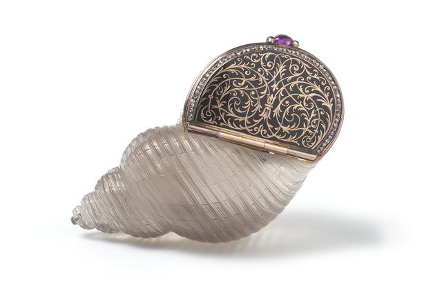 , 'An Enamel and Diamond set Carved Smokey Quartz Bonbonnière,' , Wartski