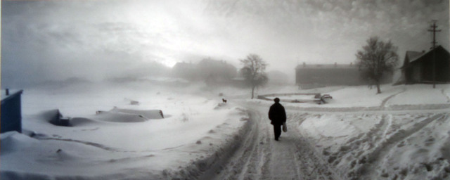 , 'Solovki, White Sea, Russia, (Man Walking Down Snow Covered Road),' 1992, Peter Fetterman Gallery