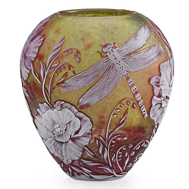 Jonathan Harris, 'Vase with dragonfly, butterfly, and poppies, England', 2000, Design/Decorative Art, Acid-etched cameo glass, foil inclusions, Rago/Wright