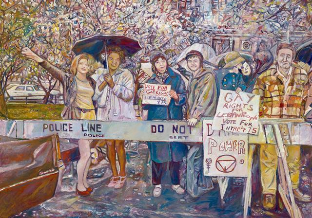 Keith Mayerson, 'Gay rights activists at City Hall rally for gay rights-Sylvia Ray Rivera, Marsha P. Johnson, Barbara Deming, and Kady Vandeurs (from a photo by Diana Davies, 1973)', 2018, 1969 Gallery
