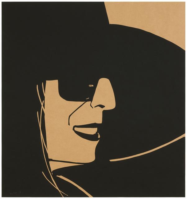 Alex Katz, 'Large Black Hat Ada (Kraft)', 2013, Print, 1-color silkscreen on brown kraft 70 lb paper, Meyerovich Gallery