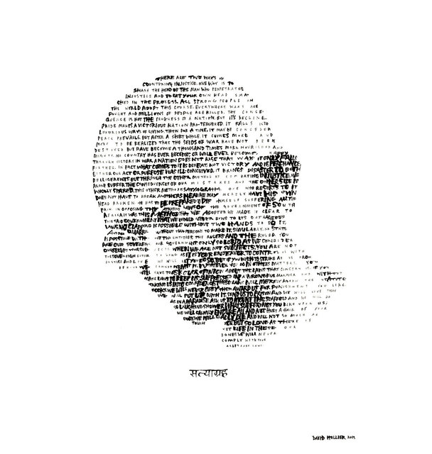 David Hollier, 'Gandhi (Text. from essay on 'Satyagraha')', 2017, New Apostle Gallery
