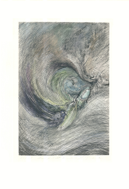 Irene M. Tschermak, 'Mondgedicht', 1994, Print, Hand-colored etching, Sylvan Cole Gallery