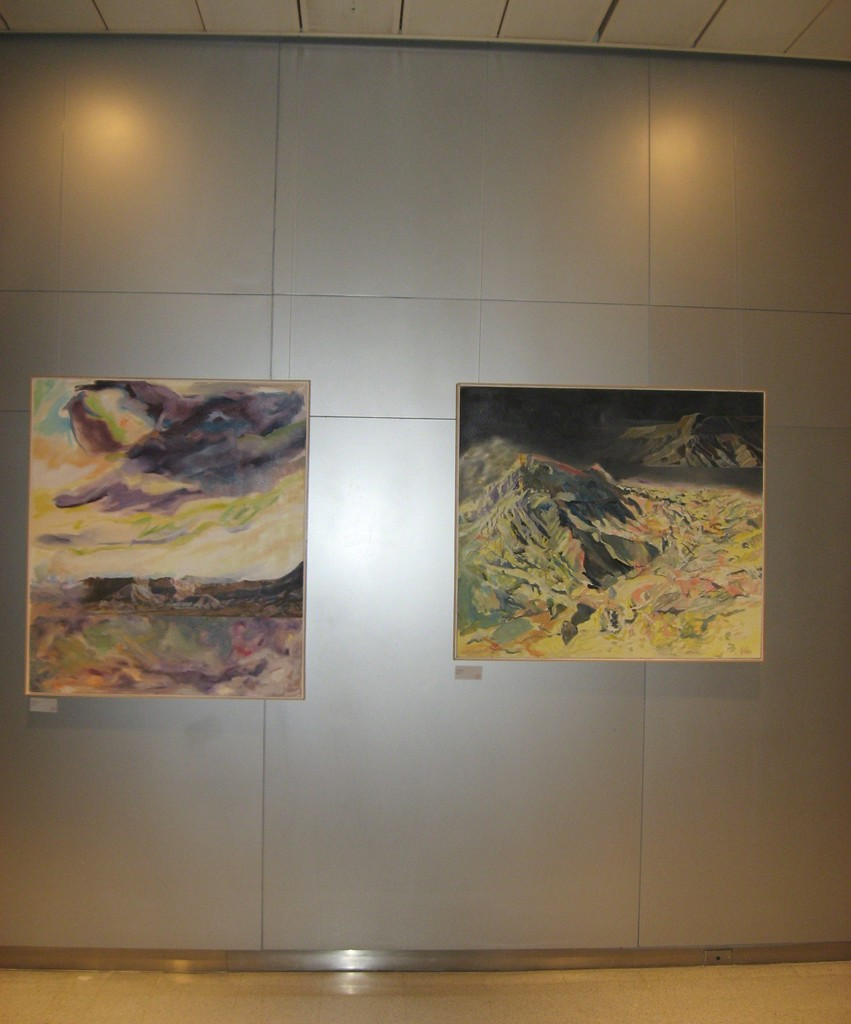 "Elaine Galen's ""Desert Storm"", oil on canvas, 46x40 and Wilderness, Oil on Canvas, 40x45 on exhibit in New York City."