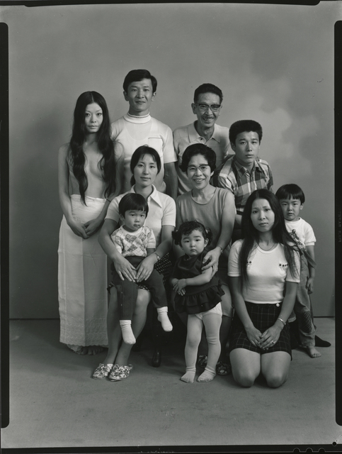 , 'From the upper left: my wife Yoko, my brother Toshiteru, my father Sukezo, my sister's husband Hisashi Daikouji. From the bottom left: my brother's wife Akiko, and my sister's eldest son Manabu, my mother Mitsue, my brother's eldest daughter Kyoko, my sister Kanako and my brother's eldest son Takuya,' 1971, Michael Hoppen Gallery