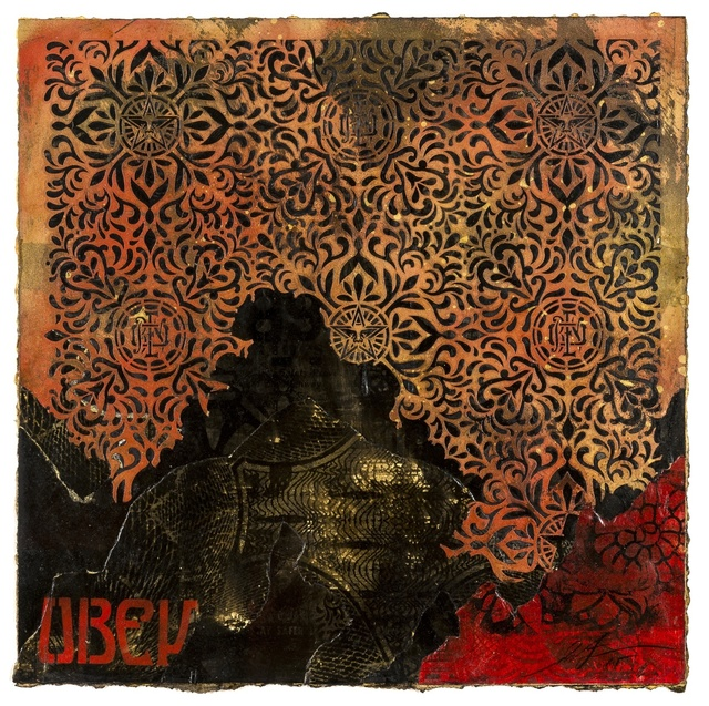 Shepard Fairey, 'OBEY Pattern (Retired Stencil & Studies)', 2015, Drawing, Collage or other Work on Paper, Stencil and mixed media collage on paper, Forum Auctions