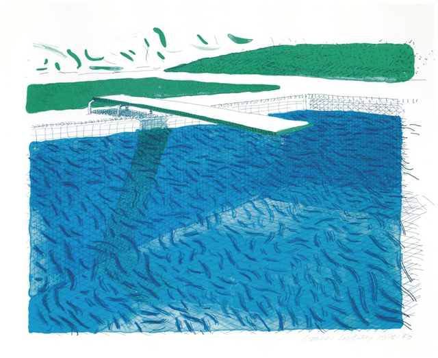 David Hockney, 'Lithographic Water Made of Lines, Crayons, and Two Blue Washes', 1978-1980, Upsilon Gallery