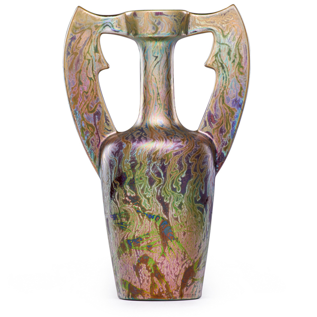 Clément Massier, 'Fine Vase With Underwater Scene, Shrimp, And Flaring Handles, Golfe-Juan, France', ca. 1900, Rago