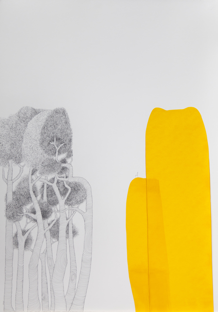 María Ángeles Atauri, 'Yellow Mountain', 2021, Painting, Ink on paper, Galería Marita Segovia