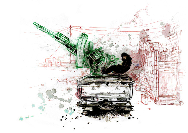 , 'Abu Mujahid, ISIS fighter, with His Mounted Anti-Aircraft Machine Gun ,' 2016, Cantor Fitzgerald Gallery, Haverford College