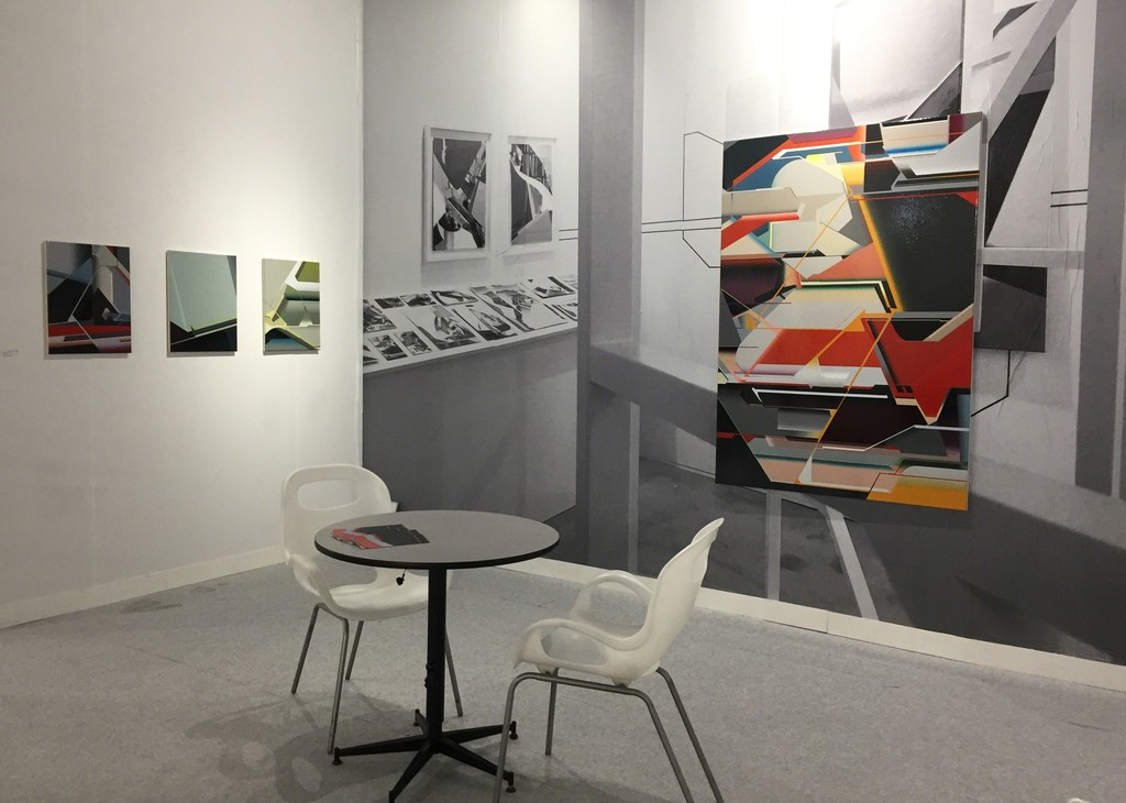 View of the Volta NY booth with paintings by Marc von der Hocht; photo: gallery