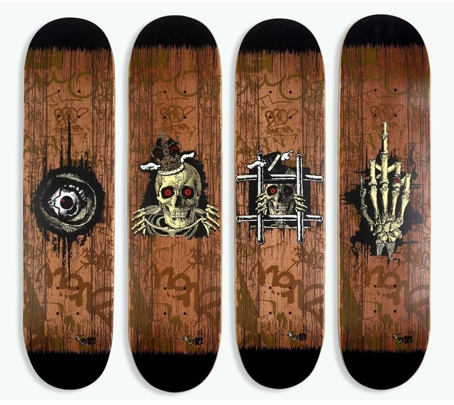 D*Face, 'Fuck U & Die, King Rip, Peep N Creep, Times UP Skate decks (set of 4)', 2012, Digard Auction