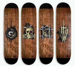 Fuck U & Die, King Rip, Peep N Creep, Times UP Skate decks (set of 4)